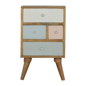 Bedside Table with 4 Multi Sized Painted Drawers