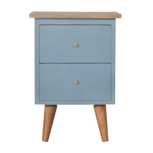 Bedside Table with Blue Hand Painted Body