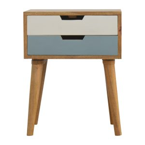 Bedside Table with Blue & White Drawers