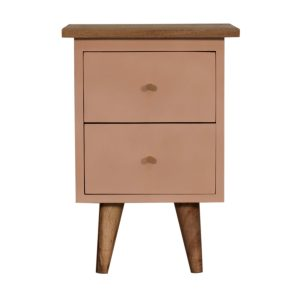 Bedside Table with Blush Pink Painted Body