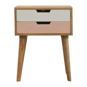 Bedside Table with Blush Pink & White Drawers