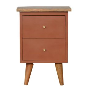 Bedside Table with Brick Red Hand Painted Body