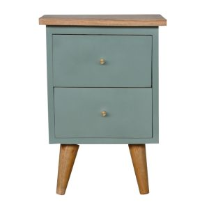 Bedside Table with Green Hand Painted Body
