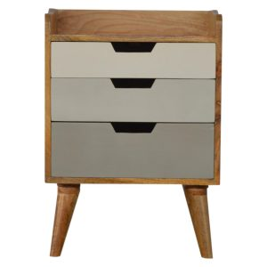 Bedside Table with Grey Gradient Painted Drawers