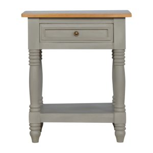 Bedside Table with Oak-Style Top & Grey Painted Body
