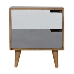 Bedside Table with Two Tone Grey Painted Drawers