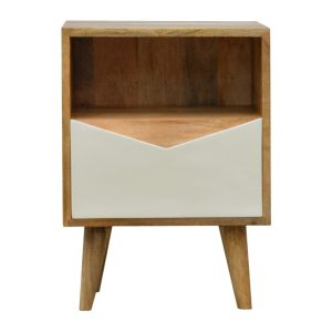 Bedside Table with White Painted Envelope Drawer
