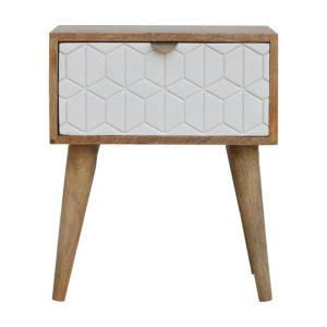 Bedside Table with White Screen Printed Drawer