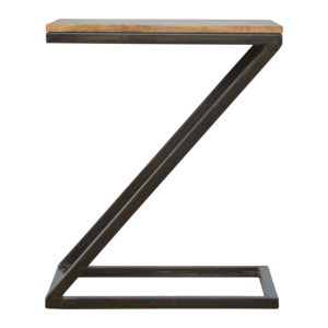 Bedside Table with Z Shaped Pewter Base