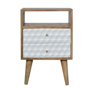 Bedside with White Hand Painted Honeycomb Carved Drawers