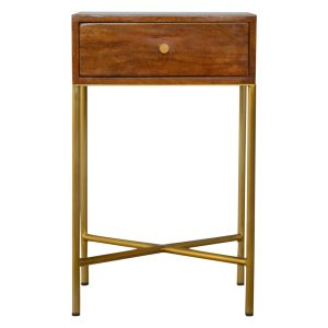 Chestnut Bedside Table with Gold Coloured Legs