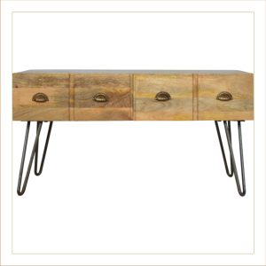 Coffee Table with 2 Drawers & Pewter Legs