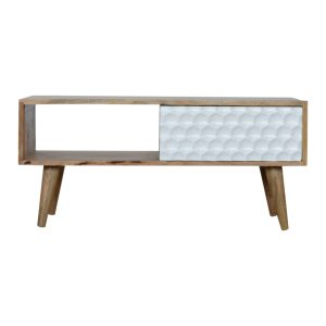 Coffee Table with Hand Painted White Honeycomb Carved Sliding Door