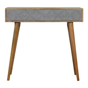 Console Table with Geometric Carving on Hand Painted Drawers