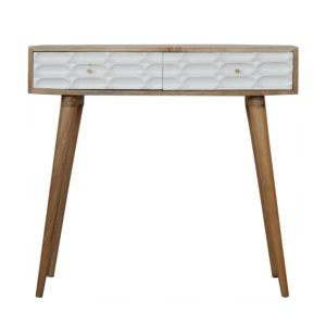 Console Table with Hand Painted White Carved Drawers