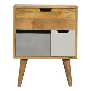 Grey and White Bedside Table with Removable Drawers
