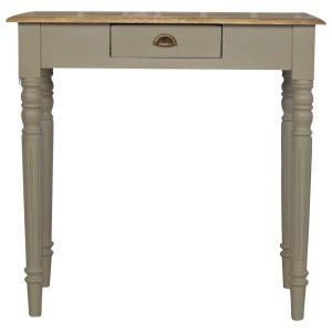 Hand Painted Grey Writing Desk with Stained Oak Top