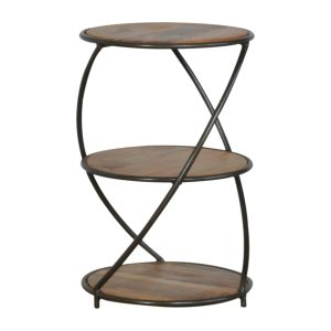 Industrial Style 3 Tier Solid Wood End Table