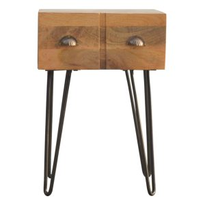 Oak-Style Bedside Table with Pewter Legs