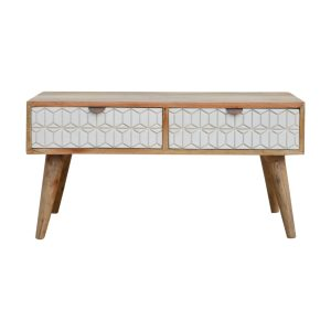 Oak-Style Coffee Table with White Screen Printed Drawers