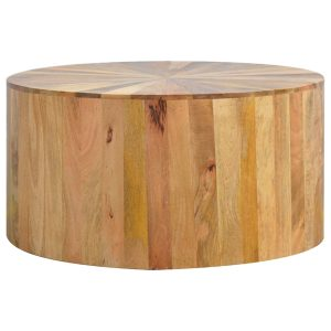 Oak-Style Round Wooden Coffee Table