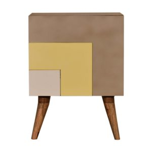 Quebec 3 Shades of Yellow Bedside Table