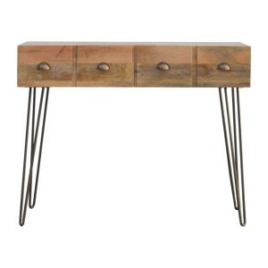 Solid Wood Console Table with 2 Drawers & Iron Legs