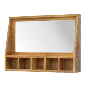 Mirror with Wooden Frame & Storage Slots