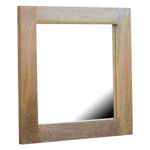 Square Mirror with Oak Frame